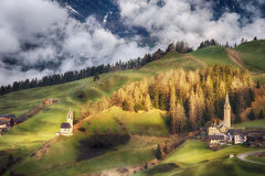 Alpine village in Dolomites mountains Stock Photography