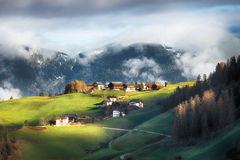 Alpine village in Dolomites mountains Royalty Free Stock Photos