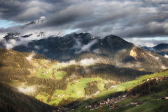 Alpine village in Dolomites mountains Royalty Free Stock Image