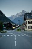 Alpine village at dusk stock image