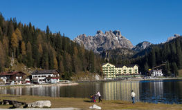 Alpine village at the foot of Tre Cime Royalty Free Stock Photos