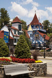 Alpine Village in Helen Georgia. Alpine village is part of the tourist destination of Helen, GA and feature beautiful swiss and German Architecture with bright Royalty Free Stock Image