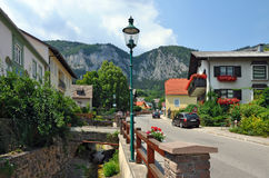 Alpine village Hohe Wand Stollhof. Austria. View of the residential houses and dry water canal in the alpine municipality Hohe Wand Stollhof. Lower Austria Royalty Free Stock Photos