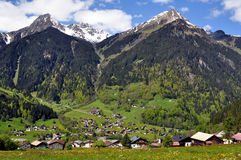 Alpine_village_and_mountains. Alpine village with spring flowers in foreground and mountains in background Royalty Free Stock Photo