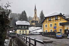 Alpine village  Prein on the RAX. Austria. Snowfall in the Alpine village  Prein on the RAX. Lower Austria Royalty Free Stock Images