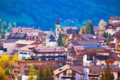 Alpine village of San Cassiano view Royalty Free Stock Photos