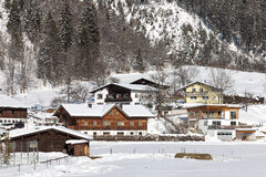 Alpine village in the snow Royalty Free Stock Image