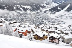 Alpine village with snow Stock Images