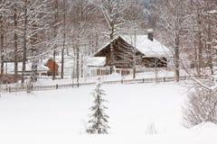 Alpine village at snow winter Stock Photos