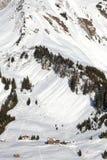 Alpine village in the snow Stock Photo