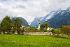 Alpine village of Soglio in Swiss Alps, Maloja District, Canton of Grisons, Switzerland.  royalty free stock photos