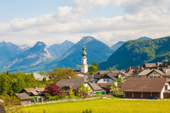 Free Alpine Village St. Gilgen With A Church, Mountains On Background Stock Image - 97337781