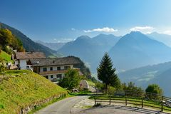 Alpine village of Stulles in the Alps. South Tyrol, Italy royalty free stock photography