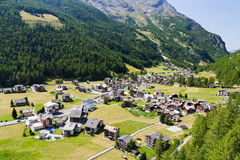 Alpine village in Switzerland valley Stock Image