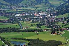 Alpine village in the valley Stock Photos