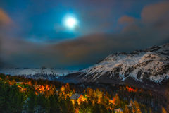 Alpine village. View of alpine village night in the winter season Royalty Free Stock Photography