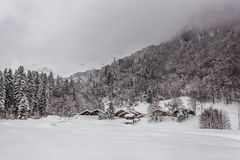 Alpine village in winter Royalty Free Stock Photo
