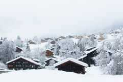 An alpine village in winter Royalty Free Stock Images