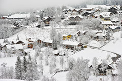 Alpine village winter wonderland Stock Photos