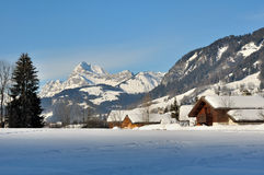 Alpine village in winter Stock Photos