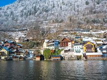Alpine villages Hallstatt in Austria One of the most beautiful winter season snow moutain stock photography