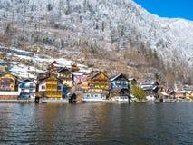 Alpine villages Hallstatt in Austria One of the most beautiful winter season snow moutain Stock Image