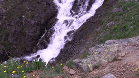 Alpine Waterfall Zoom Out stock video
