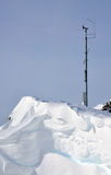 Alpine weather station. Winter Alps landscape from ski resort Solden and a small weather station Stock Images