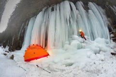 Icefall in the Ukrainian Carpathians Stock Photography