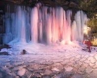 Icefall in the Ukrainian Carpathians Royalty Free Stock Photo