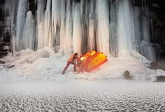 Icefall in the Ukrainian Carpathians Royalty Free Stock Images