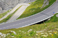 Alpine winding road. In Switzerland Stock Photography