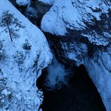 Alpine Winter Gorge Arial View stock photography