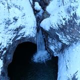 Alpine Winter Gorge Arial View stock image