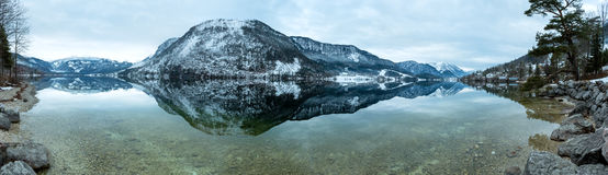 Alpine winter Grundlsee lake panorama  (Austria). Royalty Free Stock Photography