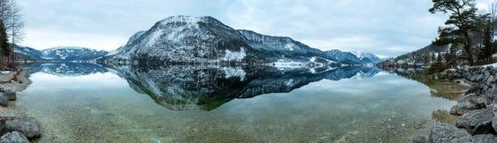 Alpine winter Grundlsee lake panorama  (Austria). Royalty Free Stock Photography