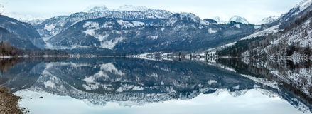 Alpine winter lake panorama. Royalty Free Stock Photography