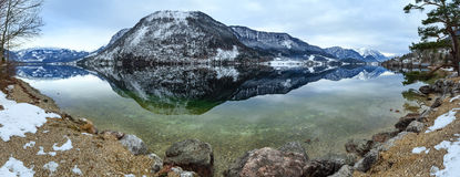 Alpine winter lake panorama. Stock Image
