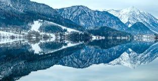 Alpine winter lake panorama (lake Grundlsee, Austria). Stock Photos
