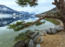 Alpine winter lake view Stock Photos