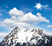 Alpine winter landscape with blue sky Stock Image