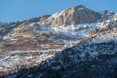 Alpine winter landscape stock image