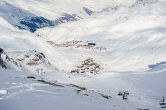 Alpine winter mountain landscape. French Alps with snow. Stock Images