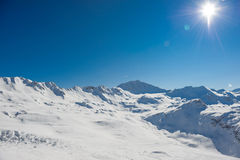 Alpine winter mountain landscape. French Alps with snow. Stock Photography
