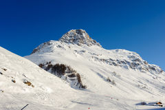Alpine winter mountain landscape. French Alps with snow. Stock Image