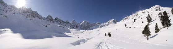Alpine winter panorama Stock Image
