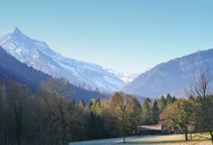 Alpine winter valley, Switzerl Stock Photography