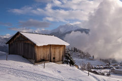 Alpine Wood Hut Royalty Free Stock Photo