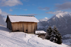 Alpine Wood Hut Stock Image