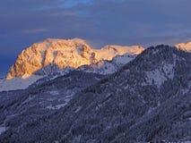 Alpineglow di primo mattino Fotografia Stock Libera da Diritti